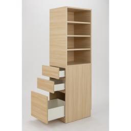 上部オープン棚で取り出しやすい 幅サイズオーダーすき間収納庫 奥行55cm・幅15~45cm (イ)ライトアッシュ木目 可動棚は3cm間隔で高さ調節が可能。