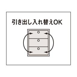 家電が使えるコンセント付き 多機能洗面所チェスト 幅75cm 引き出しはそれぞれ入れ替えることができます。