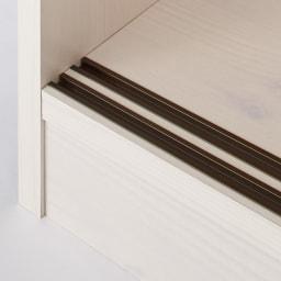 引き戸ルーバー洗面所収納庫 幅75cm 底はレール付き。扉がスムーズに開閉できます。