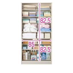 引き戸ルーバー洗面所収納庫 幅90cm (ア)ホワイト ※赤文字は内寸(単位:cm)※扉を外した状態〓は固定棚です。