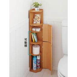 こだわりトイレの木製コーナーラック ハイ 高さ100cm (イ)ナチュラル 扉内部の2枚の棚板は高さ調節が可能。収納物に合わせて設置してください。