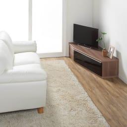 住宅事情を考えた天然木調コーナーテレビ台 左コーナー用 幅123.5cm コーディネート例(イ)グレーウォルナット