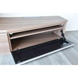 住宅事情を考えた天然木調コーナーテレビ台 左コーナー用 幅123.5cm デッキ収納部