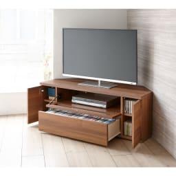 天然木調お掃除がしやすいコーナーテレビ台 幅120cm 収納力が自慢のコーナーテレビボード