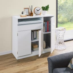 薄型PCキャビネット 幅60cm (イ)ホワイト 明るく開放感ある空間を演出するホワイト ※こちらは幅90cmの商品です。
