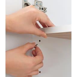 【日本製】壁面や窓下にぴったり収まる高さサイズオーダーリビング収納 奥行44cmタイプ 扉幅オーダー25~45cm(右開) 棚板は3cmピッチで高さ調節が可能。効率よく収納できます。