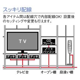 奥行34cm薄型なのに収納すっきり!スマート壁面収納シリーズ テレビ台 ミドルタイプ 幅120cm 【オススメ1】スッキリまとまる配線!各アイテム同士は配線穴を通して内部で配線ができ、側面から外部のコンセント電源に繋げられます。
