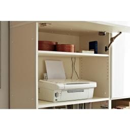 【パモウナ社製】毎日の使いやすさを考えた収納システム パソコンデスク幅60cm 使い勝手がいいパソコンデスク 棚板は可動できるので、モデムやプリンター複合機も収納可能。