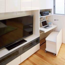 【パモウナ社製】毎日の使いやすさを考えた収納システム 収納棚付きパソコンデスク(机)幅80cm (ア)ホワイト≪組合せ例≫