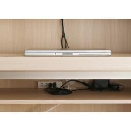 【パモウナ社製】毎日の使いやすさを考えた収納システム 収納棚付きパソコンデスク(机)幅80cm デスク天板下には4口コンセント(計1500W)を装備。