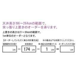 【パモウナ社製】高さサイズオーダー対応突っ張り上置き(1cm単位) 幅120cm (高さ21~89cm) 高さオーダー計算方法