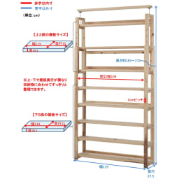 国産杉頑丈突っ張りラック(本棚) 幅119奥行27.5cm 天井と面で突っ張ってしっかり安定。
