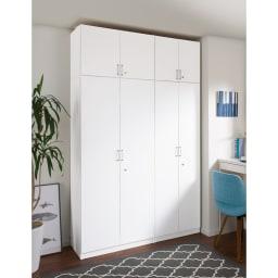 鍵付き本棚ロータイプ 幅60奥行35高さ87cm 使用イメージ:(ア)ホワイト ※写真はハイタイプと高さサイズオーダー上置き(別売り)を使用しています。