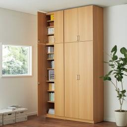 鍵付き本棚ハイタイプ 幅80奥行35高さ180cm 使用イメージ:(ウ)ナチュラル ※写真は奥行45cmタイプです。