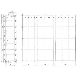 【幅80cm】 突っ張り壁面収納本棚 (奥行45cm本体高さ230cm) 【詳細図】