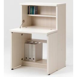 重厚感のあるがっちりデスクと扉が選べる本棚上下セット+天井突っ張り金具 デスク(イ)ホワイト(木目)