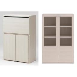 重厚感のあるがっちりデスクと扉が選べる本棚上下セット+天井突っ張り金具 デスク+本棚ガラス扉(イ)ホワイト(木目)