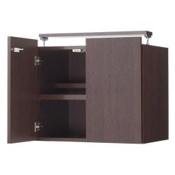 日用品もしまえる頑丈段違い書棚上置き(幅60cm) (ウ)ダークブラウン