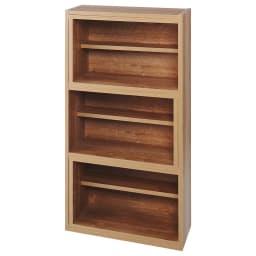 天然木調 伸縮式ブックシェルフ 3段・幅60~93cm (ア)ブラウン(最小幅)