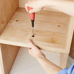 天然木調ブックシェルフ 高さ180cm シェルフ上下は組み換え可能です。4か所でジョイントで安定感があります。
