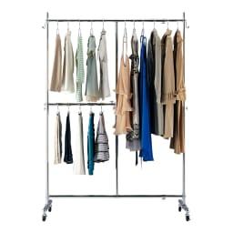 幅と高さが変えられるプロ仕様頑丈ハンガー 上下2段掛け付き シングルタイプ・幅70~92cm (2)ロング丈が多い場合