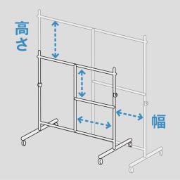 幅と高さが変えられるプロ仕様頑丈ハンガー 上下2段掛け付き シングルタイプ・幅70~92cm 高さの調節も、もちろん可能。ロングコートも余裕です。