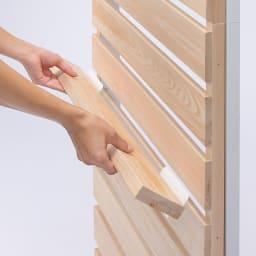 国産檜 壁面突っ張りウッドパネル 幅60cm 収納棚はすき間に差し込むだけの簡単取り付け。移動も簡単です。