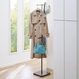 手軽で便利なショップスリムハンガー ダブルタイプ (イ)ダークブラウン 玄関のコート掛けにも。来客用のハンガーラックとしても。 写真はシングルタイプです。