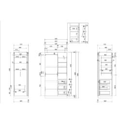 【日本製】引き戸式ミラーワードローブ ハンガー棚タイプ 幅88cm 詳細図