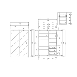 【日本製】引き戸式ミラーワードローブ 棚タイプ 幅118cm 詳細図