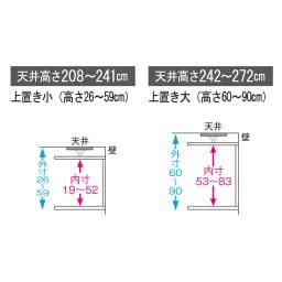 【日本製】引き戸式ミラーワードローブ   高さオーダー対応突っ張り式上置き 幅148cm(高さ26~90cm) ※上置きオーダーサイズの詳細