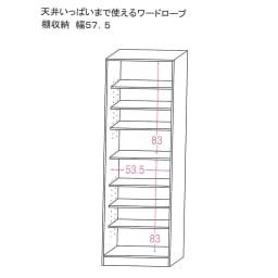 【国産・完成品】 薄型 オープンワードローブ 棚 幅57.5cm 内寸図(単位:cm)