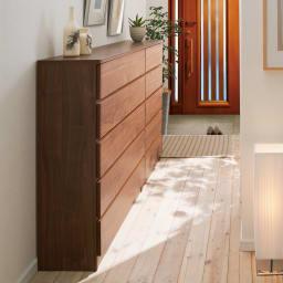 奥行30cm薄型収納チェスト 6段 幅90高さ121cm (イ)ダークブラウン 薄型なので狭い廊下など置き場所を選びません。30cm