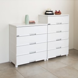 Fits フィッツプラスプレミアム 幅65cm・4段 コーディネート例 (ア)セラミックホワイト