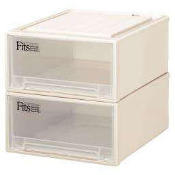 Fits フィッツ収納ケース サイズいろいろ 奥行53cm 幅44cm 高さ23cm 2個組 (ア)カプチーノ(アイボリー系) 同色2個組でお届けします。