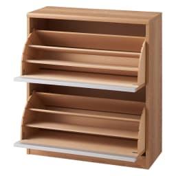 可動仕切り板でたっぷり入るフラップ式シューズボックス 2段 (イ)ブラウン