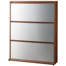 静かに開閉するミラー扉の薄型シューズボックス 3段 幅90cm (ア)ブラウン