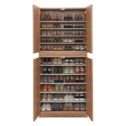 使う時だけ引き出せる!荷物のチョイ置きに便利なスライドテーブル付きシューズボックス 幅80cm高さ180cm (ア)ブラウン 収納目安:約44足