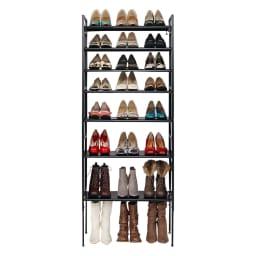 空間に美しく調和する伸縮自在木目調シューズラック 7段 靴の収納足数 約24~40足