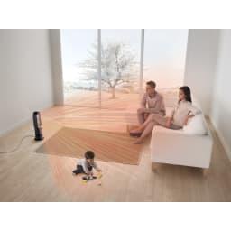 dyson/ダイソン hot&cool(暖房&扇風機) AM09 (ワイドモード使用イメージ)均一に部屋を暖めるので、部屋の中の一部が寒いままということがありません。