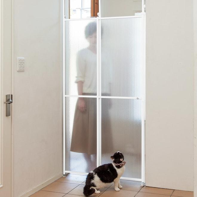 猫の脱走防止用突っ張り式パーテイション 玄関からの飛び出し防止に。