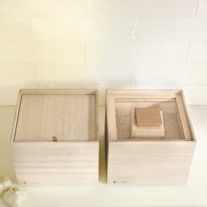桐の米びつ&野菜ストッカー スタッキングシリーズ 野菜ストッカー 高さ約16.2cm 写真