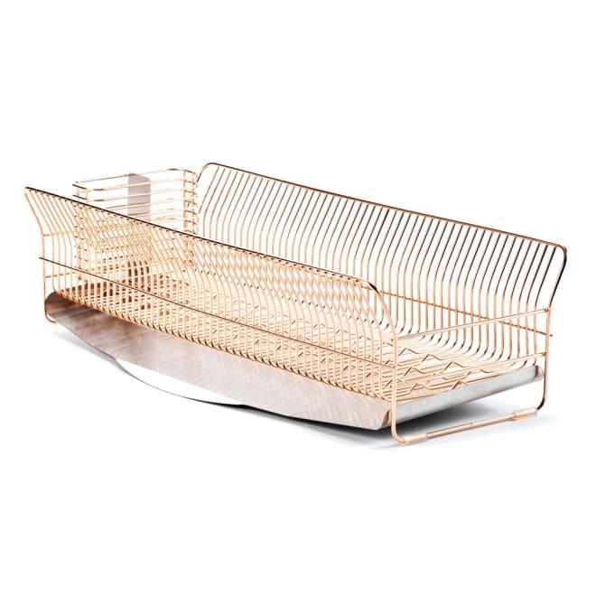 hanauta ハナウタ 皿を縦にも横にも置ける水切り ロング ピンクゴールド 本体はピンクゴールド。トレーはステンレスカラーです。