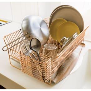 hanauta ハナウタ 皿を縦にも横にも置ける水切り ワイド ピンクゴールド 写真