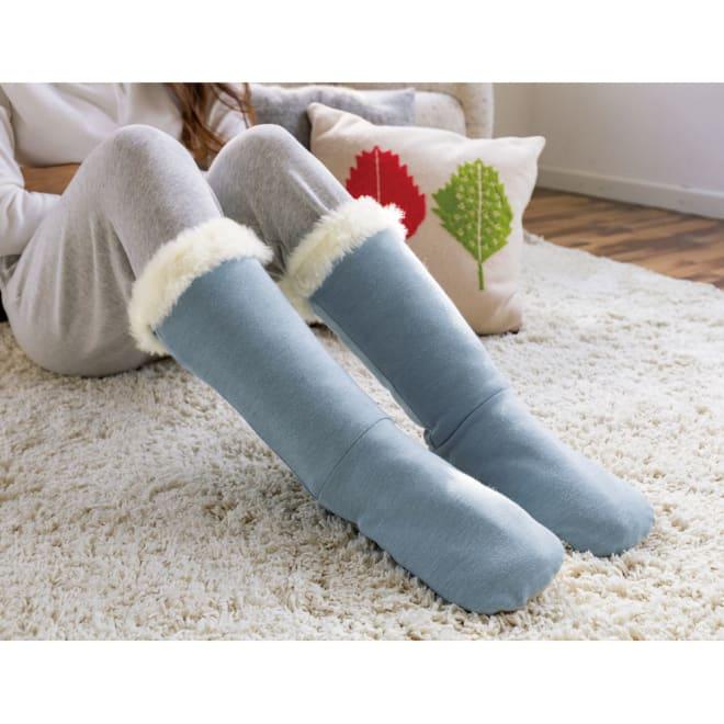 【メリノン】洗えるふくらはぎまで暖める やわらかロングブーツ (ア)ブルー