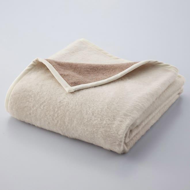 洗える 無染色カシミヤ毛布(毛羽部) ホワイトカシミヤ使用ハーフケット ブラウン面とホワイト面、お好きな方を上にして使えます。
