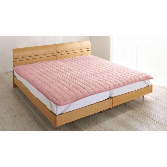 発熱するコットン「デオモイス」寝具シリーズ フランネルニットの敷きパッド ファミリー【幅200・240cm】 (イ)オールドローズ