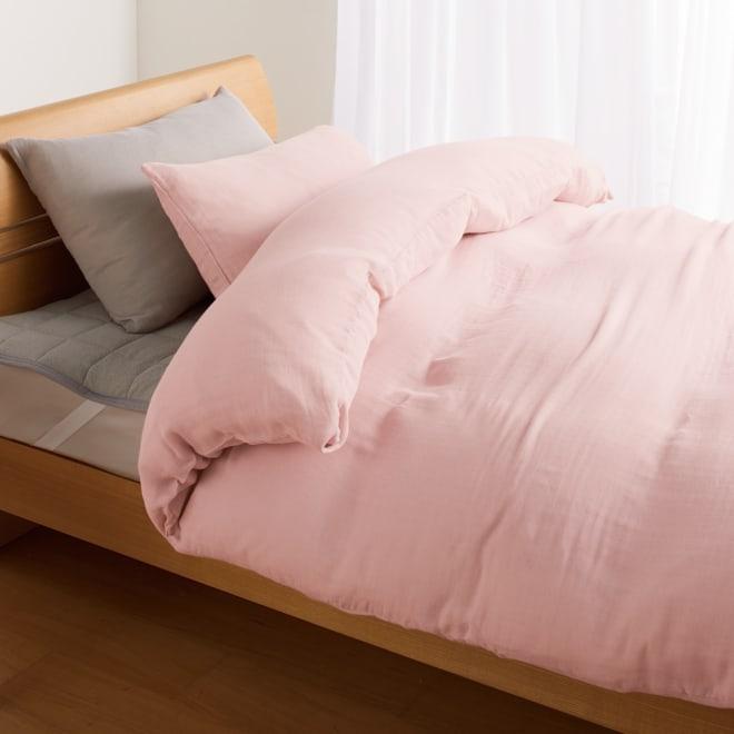 発熱するコットン「デオモイス」寝具シリーズ とろける三重ガーゼけ掛カバー (イ)オールドローズ ※お届けは掛けカバーです。