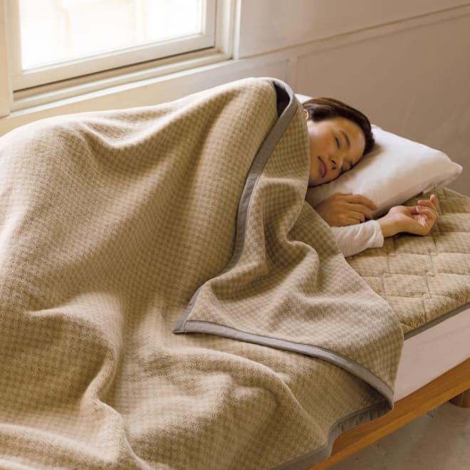 ロマンス岩盤浴シリーズ ニューマイヤー毛布 シングル (エ)ベージュ ※お届けは毛布です。