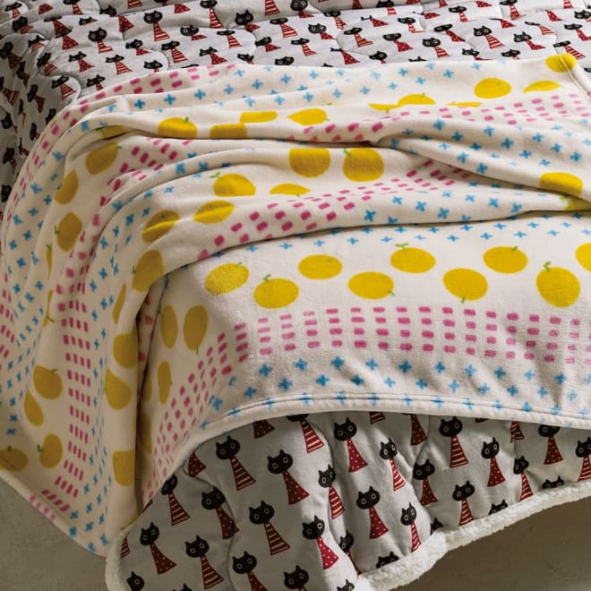 アツコマタノ シリーズ ニューマイヤー毛布・春まで待てない シングル (イ)イエロー ※お届けは上側の毛布です。